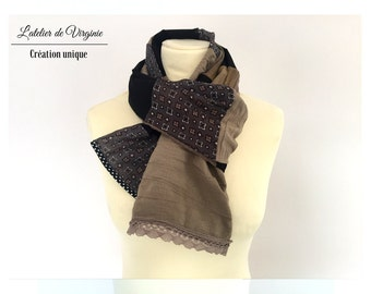 Foulard, écharpe, chèche en coton, noir beige, dentelle.Accessoire mode. Mariage. Style bohème chic/ Nouvelle collection printemps été 2017.