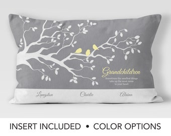 Personalized Family Tree Pillow - grandmother gift pillow - grandma gift - gift for her - gift from grandchildren - custom cushion