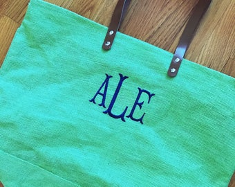 Jute large tote bag - monogrammed