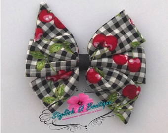 "5"" Cherry Pinwheel, Fabric Hair bow"