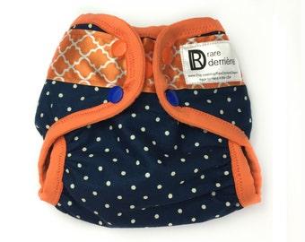 NEWBORN Diaper Cover - Hybrid Cloth Diaper - Cloth Nappy Cover - FOE Snap Diaper Shell - Pre-fold Diaper Cover - Orange and Blue Tigers