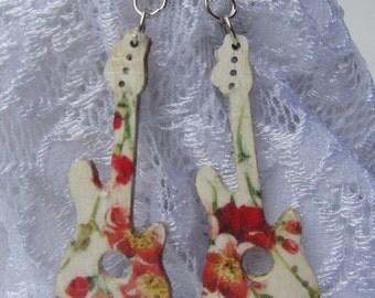 Wooden earrings - Guitar wood earrings, Decoupage wood earrings, Dangle wooden earrings, Wooden botanical jewelry, Flower wood jewelry