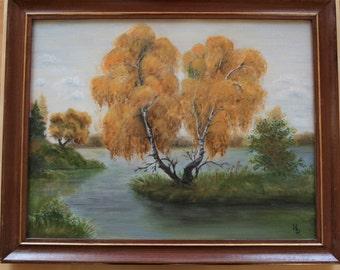 Autumn - original oil painting, 35x45 cm, trees, pink, art, drawing, illustration