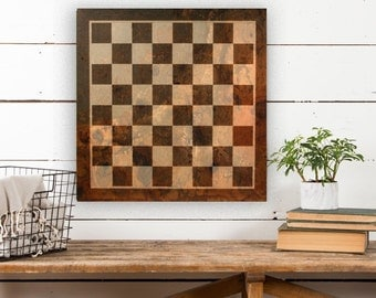 Chess Board on Canvas, Vintage Game Board, Vintage Decor, Game Board Canvas, Canvas Wall Decor, Canvas Art, Canvas Wall Hanging