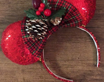 Christmas Mickey Ears, Christmas Minnie Ears, MVMCP Ears, Christmas Mouse Ears, Christmas Disney Ears, Christmas Ears, Holiday Ears