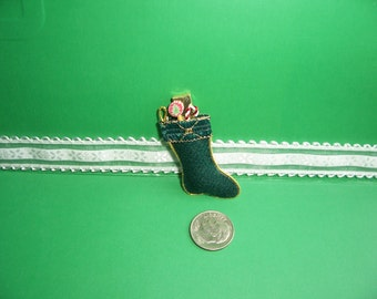 Miniature Christmas Stockings-1:12 Scale-Christmas Stocking- (Green) -Dollhouse Miniature