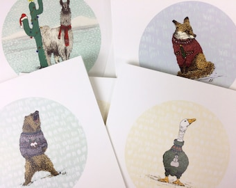 Set of 12 - hand drawn - Illustrated - Quirky Fun Animal xmas cards - Christmas Cards - greetings cards - christmas card pack