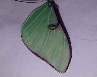 Moth Wing Necklace - Luna Moth Fore Wing
