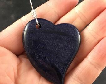 Sparkly Dark Blue Heart Shaped Goldstone Stone Pendant Necklace