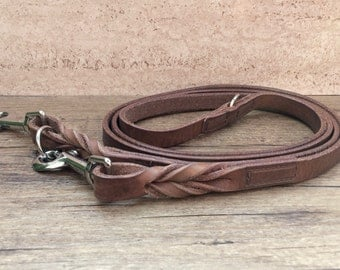 Leash, dog leash from harness-leather, leather leash in the vintage / Antikstyle, braided