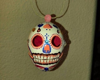 Handmade Sugar Skull blown and carved egg