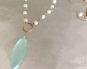 Angel skin coral, Peruvian chalcedony, long gold filled necklace