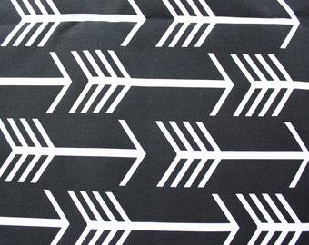 Arrow Fabric, Canvas Fabric, Monochrome Fabric, Buzoku Cotton, Woodland, Black and White, Large Arrows, Half Metre