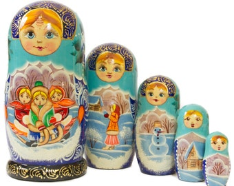 "Russian Nesting Doll - ""Russian Village. Winter fun."" - MEDIUM SIZE - 5 dolls in 1 - Hand Painted in Russia - Matryoshka Babushka"