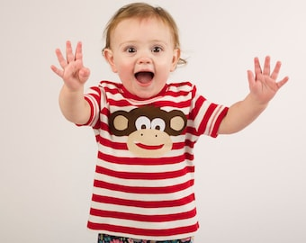 Monkey T-Shirt, Baby T-Shirt, Toddler T-Shirt, Stripe T-shirt, Baby Boy T-Shirt, Baby Girl T-Shirt, Baby Boy Clothes, Baby Girls Clothes,