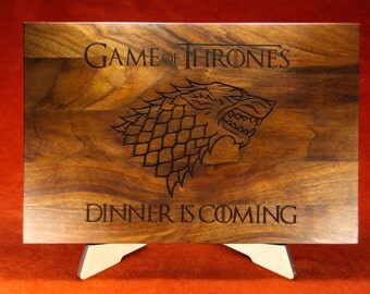 Unique gift cutting board, Game of thrones gift,  House of Stark , Winter wolf, Winter os coming, laser engraved cutting board