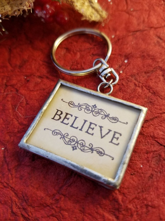 Believe Key Chain, Believe Charm Key Ring, Believe Word Charms, Believe Jewelry, Inspirational Gifts, Accessories, Christian Charms Keyrings