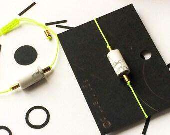 Minimal simple neon bracelet with natural stones / howlite hematite / marble gold brass neon yellow / midern style minimalist fashion