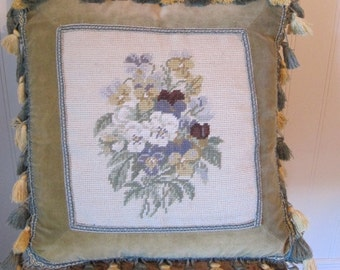 Pillow, Needlepoint Pillow, Pillow with Fringe, Pillow with Flowers, Green Throw Pillow