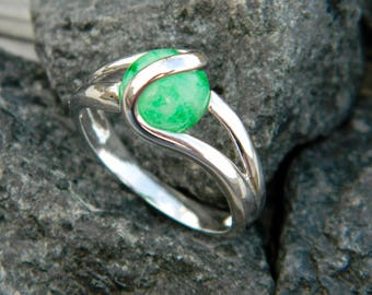 Glows in the Dark - Interchangeable Marble Ring with handmade 8mm (glow in the dark) glass marble