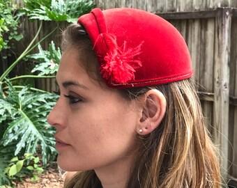 Vintage hat, Red vintage hat, Jaunty vintage hat