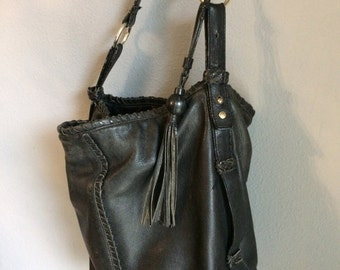 vintage, leather, worn leather purse, black sack, with tassel, well used well loved leather bag