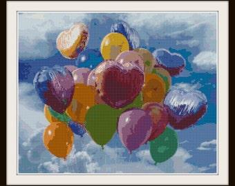 Balloons Cross Stitch Pattern - Up Cross Stitch Pattern - PDF Instant Download