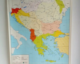 Pull Down Chart - Teachers Aid - Classroom Wall Art - Topographical Map - Balkans Chart - East Europe - Former Yugoslavia - Vintage Chart