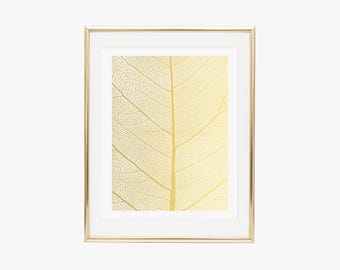 Leaf Pattern Gold Foil Print- Real Gold Foil, Fashion Poster, Gold Foil Leaf, Gold Foil Picture, Leaf Print, Nature Print, Wall Art