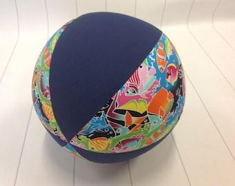Balloon Ball Fabric, Balloon Ball Cover, Portable Ball, Travel Ball, Inflatable, Sensory, Special Needs, Tropical Fish, Blue, Kids, Eumundi