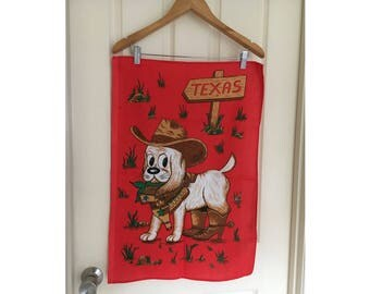 Vintage Retro Kitsch tea towel with super cute puppy dog