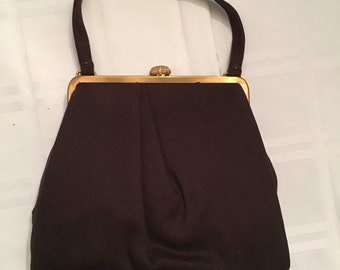 Vintage Mel-ton Brown Wool Evening Handbag