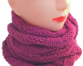 Hot pink scarf, Rose infinity scarf, Pink circle scarf,  cotton knit scarf Rose knitted circle scarf Gift for her Hot pink loop scarf