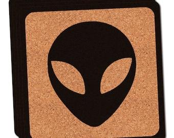 Alien Head Thin Cork Coaster Set Of 4