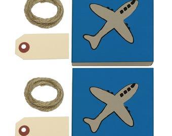Plane Airplane Travel Flying Kraft Gift Boxes Set Of 2