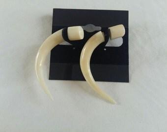 Cow Horn Faux Plug Hook Earrings