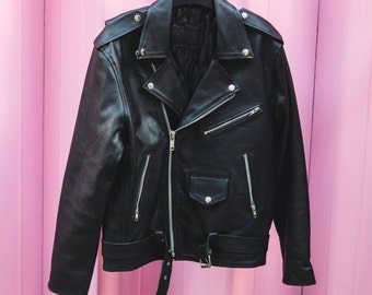 80's Style Classic Black Leather Biker Jacket (Oversized)