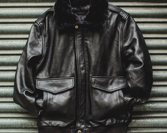 80's Style Black Leather & Shearling Collar Pilot jacket (Removable Double Lining)