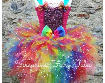 Rainbow Tutu Dress. Lined 6 layers Glitter Rainbow Fairy Party or Gala Dress . Handmade by Seraphina Fairy Tales