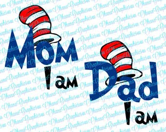 Mom I Am with Hat and Dad I Am with Hat, SVG
