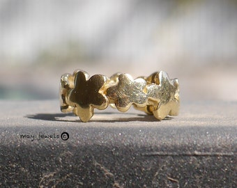 Eternity Flower ring, flower band ring, band ring, solid gold 14k gold wedding ring