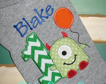 Personalized Birthday Shirt. First Birthday Shirt. Monster Birthday Shirt/Onesie. Boy's Little Monster Birthday Shirts. Ages 1-9. Monster018