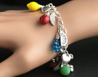 Fruits and Berries Bracelet. Charm Bracelet. Produce Bracelet. Food Bracelet. Vegetarian Bracelet. Silver Charm Bracelet. Handmade Jewelry.