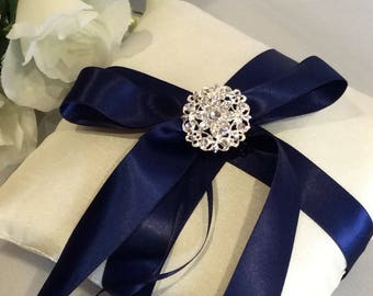 Navy Ring Pillow, Ivory Ring Cushion, Ring Pillow, Navy Wedding Ring Pillow, Elegant Ring Pillow, Ring Bearer Pillow