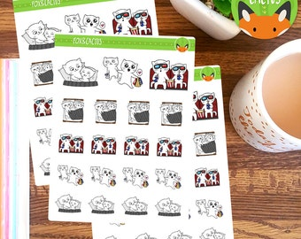 Cat Couple PT.1 Love Relationship Movie Shopping Sticker Set - Planner Stickers - Planner ...