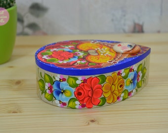 Small wooden box, Handpainted jewelry box, Pretty girl in folk costume with willow branches, Easter gift, Trinket box, Russian art