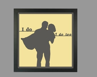 Personalized wedding gift,Wedding gift,Personalized wedding shower gift,Unique gift,Shower gift, Bridal shower,Paper cutting, Silhouette