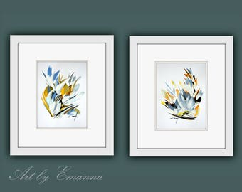 Original Paintings, Framed Fine Art, Plant Art, Set of 2 Framed Original Painting, Acrylic on Paper, Modern Wall Art, Ready to Hang