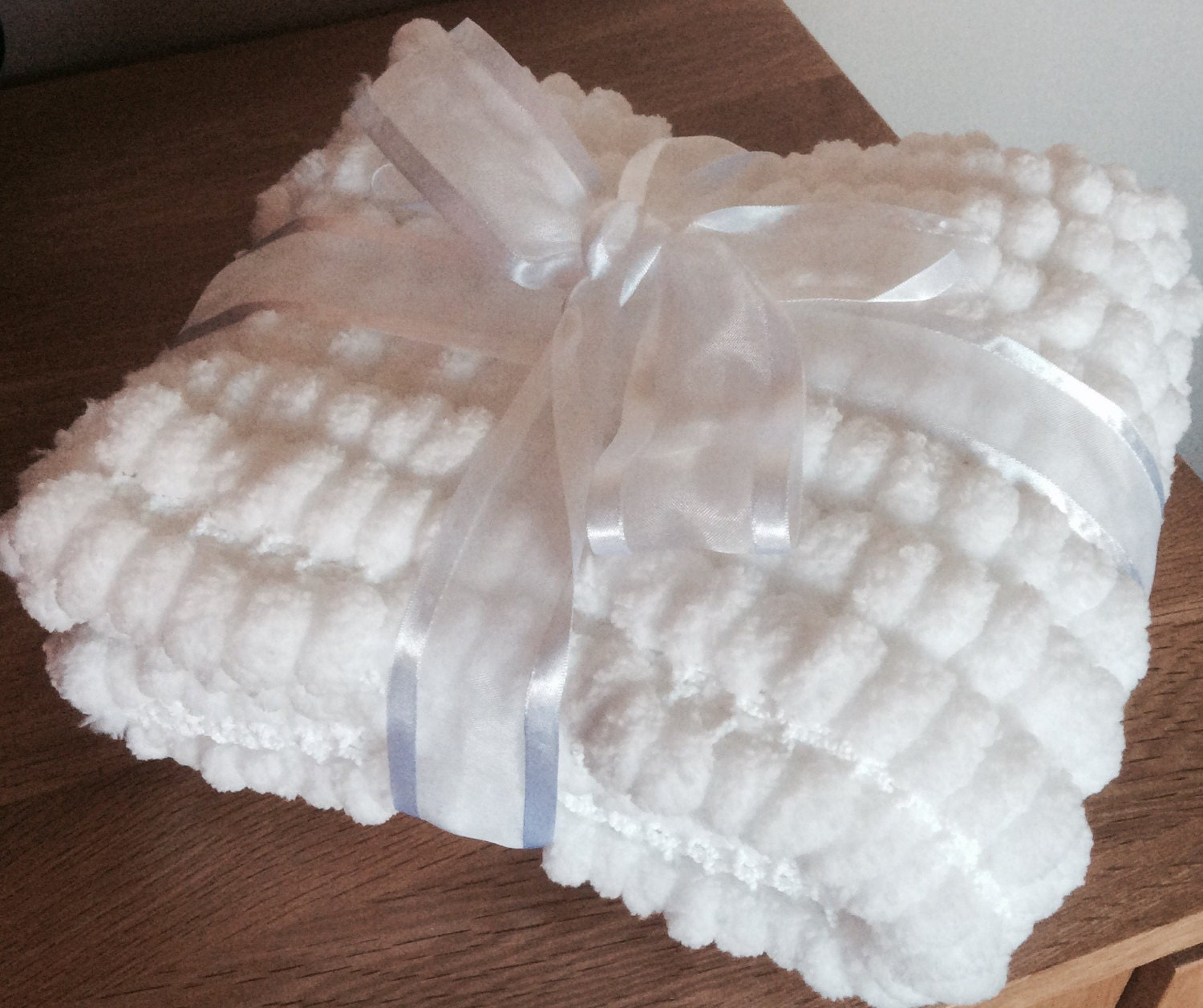 Knitting A Baby Blanket With Pom Pom Wool : Pure white hand knitted pom wool baby blanket pram or