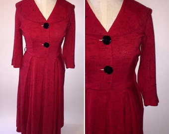 Vintage 1940s 40s Red and Black Speckled Dress Side Zip XSmall XXSmall Spring